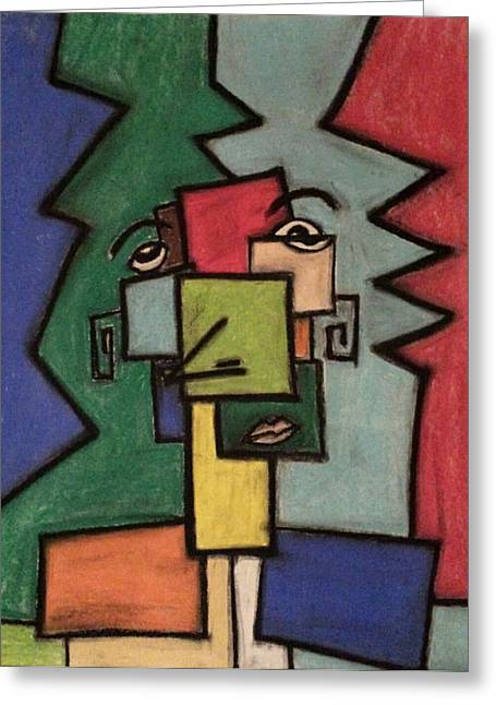 Cubist Pastels Greeting Cards - Yeah Yeah Greeting Card by Albert Mendez