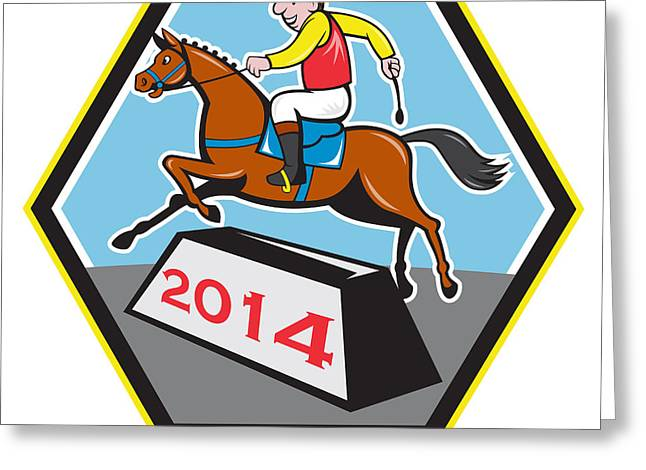 The Horse Greeting Cards - Year of Horse 2014 Jockey Jumping Cartoon Greeting Card by Aloysius Patrimonio