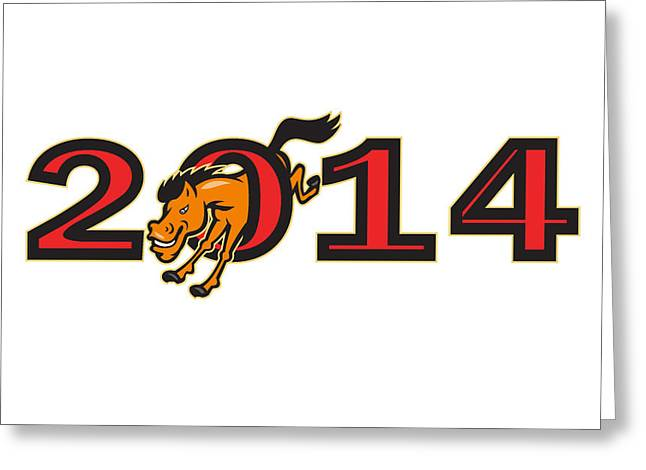 The Horse Greeting Cards - Year of Horse 2014 Jumping Side Greeting Card by Aloysius Patrimonio