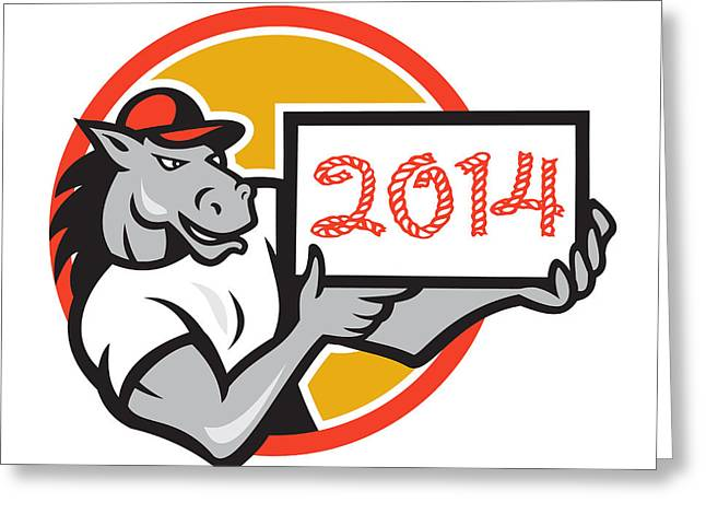 Year Of Horse 2014 Showing Sign Cartoon Greeting Card by Aloysius Patrimonio