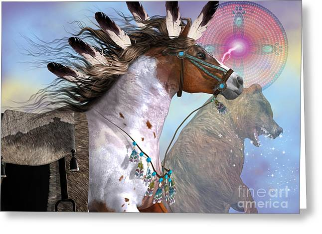 Gatherers Greeting Cards - Year of the Bear Horse Greeting Card by Corey Ford