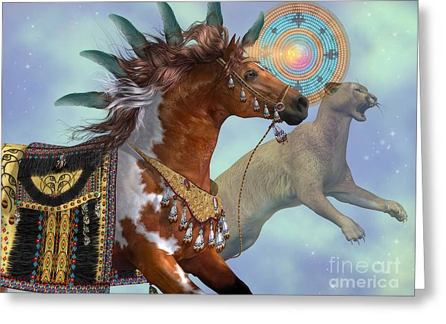 Puma Pictures Greeting Cards - Year of the Cougar Horse Greeting Card by Corey Ford