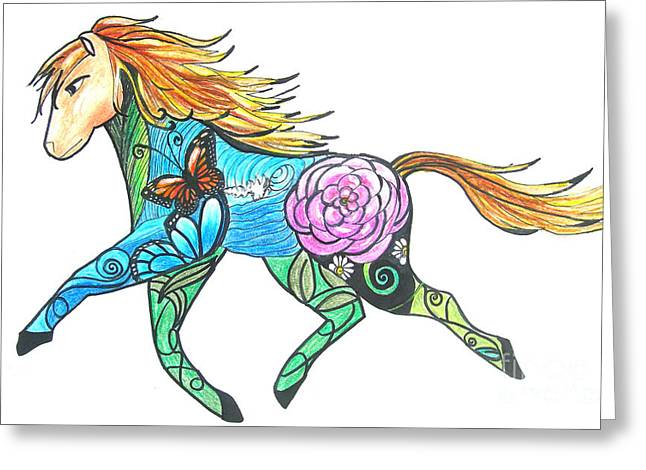 New Year Pastels Greeting Cards - Year of the Horse Greeting Card by Angela Holland