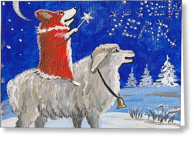 Grazing Snow Paintings Greeting Cards - Year of the Sheep Greeting Card by Margaryta Yermolayeva