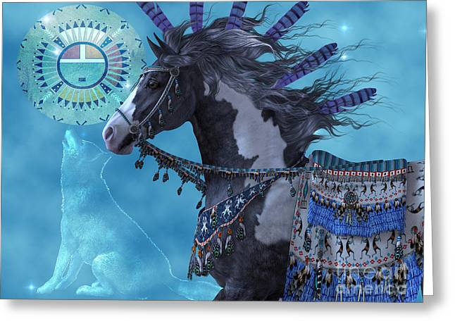 Horse Images Digital Greeting Cards - Year of the Wolf Horse Greeting Card by Corey Ford
