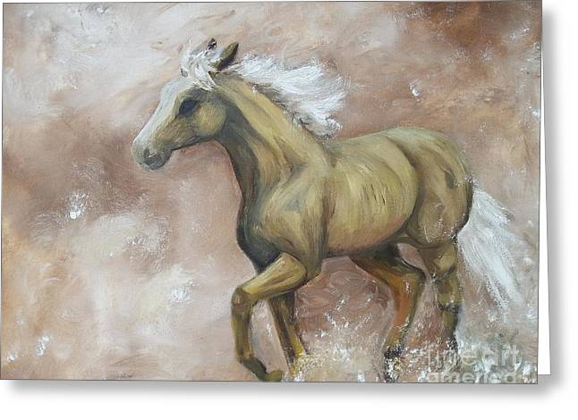 Yearling Horse Greeting Cards - Yearling In Storm Greeting Card by Isabella F Abbie Shores LstAngel Arts