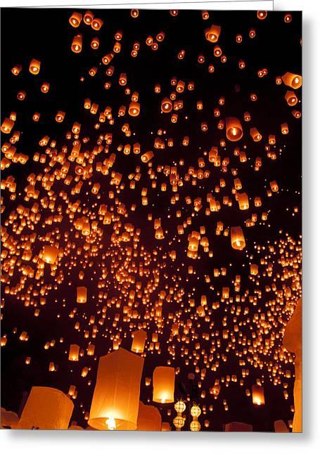 Yee Greeting Cards - Yee peng Sky lantern Thailand Festival 2 Greeting Card by Nunta Lertslarak