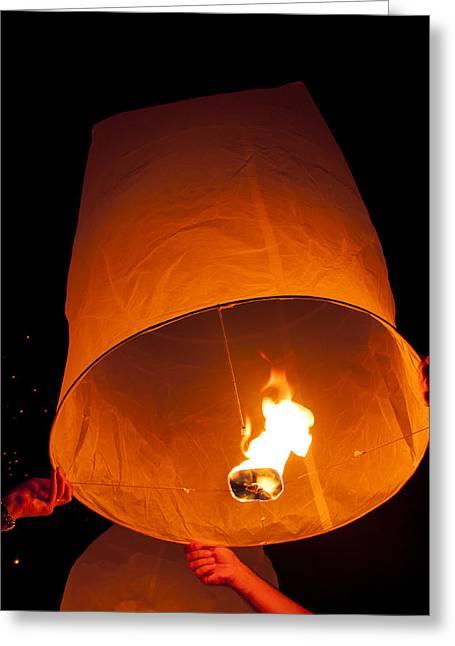 Yee Greeting Cards - Yee peng Sky lantern Thailand Festival Greeting Card by Nunta Lertslarak