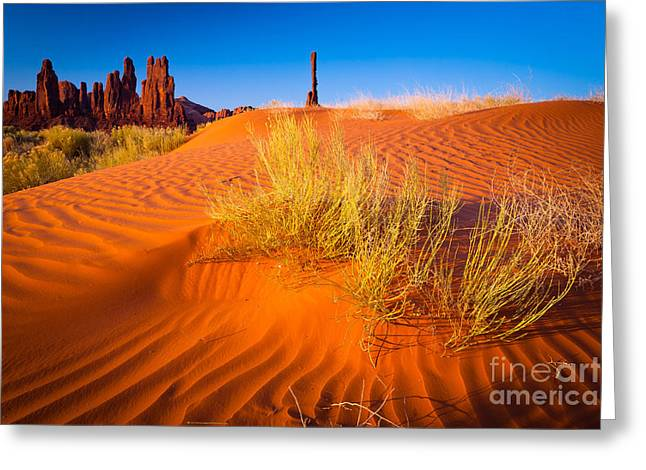 Sand Patterns Greeting Cards - Yei-bi-Chai rocks and dunes Greeting Card by Inge Johnsson