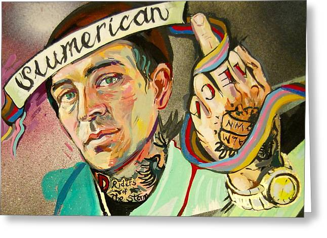Eminem Paintings Greeting Cards - Yelawolf Portrait Greeting Card by Britt Kuechenmeister