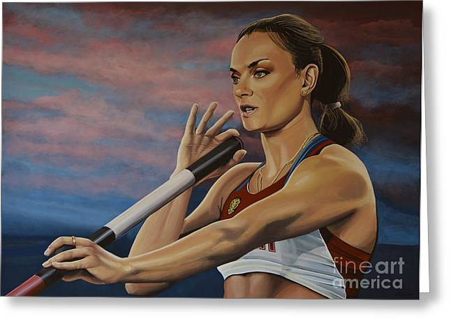 Action Sports Art Greeting Cards - Yelena Isinbayeva   Greeting Card by Paul  Meijering