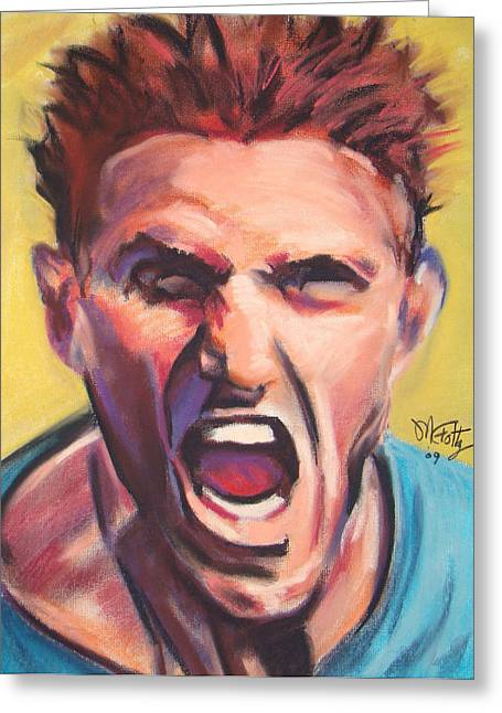 Talking Pastels Greeting Cards - Yell Greeting Card by Michael Foltz