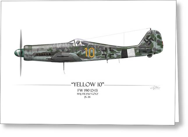 Long Nose Greeting Cards - Yellow 10 Focke-Wulf FW190D - White Background Greeting Card by Craig Tinder