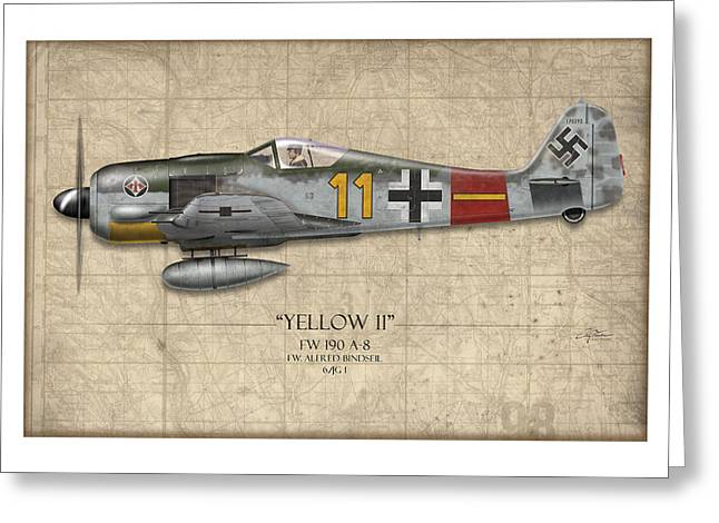 Long Nose Greeting Cards - Yellow 11 Focke-Wulf FW 190 - Map Background Greeting Card by Craig Tinder