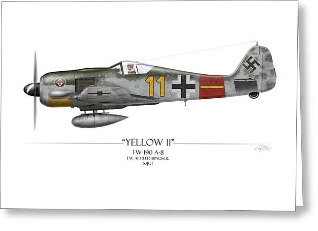 Long Nose Greeting Cards - Yellow 11 Focke-Wulf FW 190 - White Background Greeting Card by Craig Tinder