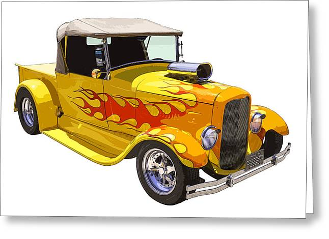 Made Digital Art Greeting Cards - Yellow 1928 Hotrod Pickup Truck  Greeting Card by Keith Webber Jr