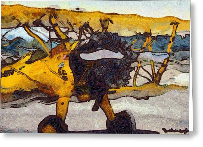 Airplane Prop Greeting Cards - Yellow 1943 Boeing Super Stearman Greeting Card by Barbara Snyder