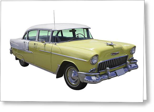 1955 Digital Art Greeting Cards - Yellow 1955 Chevrolet Bel Air Greeting Card by Keith Webber Jr