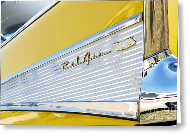 Tim Greeting Cards - Yellow 1957 Chevrolet Bel Air Tail Fin Greeting Card by Tim Gainey