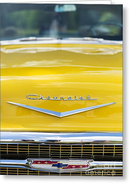 Front End Greeting Cards - Yellow 1957 Chevrolet  Greeting Card by Tim Gainey