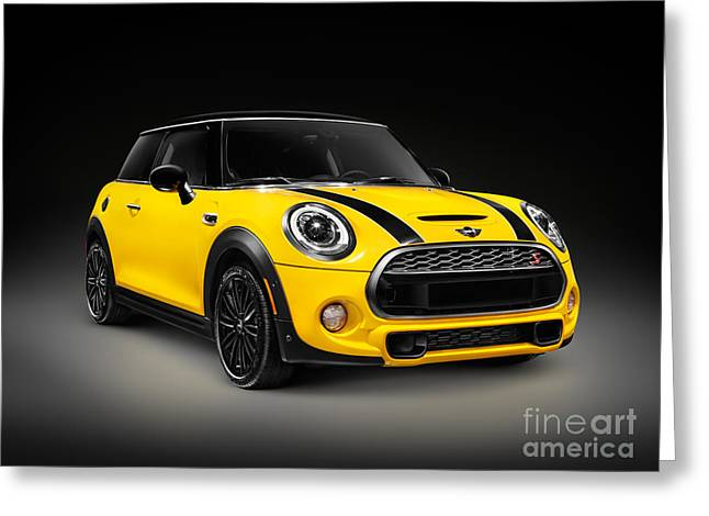 Efficient Greeting Cards - Yellow 2014 Mini Cooper S hatchback car Greeting Card by Oleksiy Maksymenko