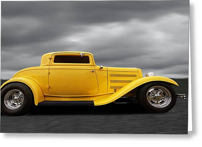 1930s Decor Greeting Cards - Yellow 32 Ford Deuce Coupe Greeting Card by Gill Billington
