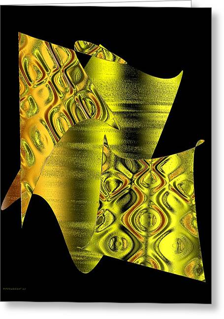 Transparency Geometric Greeting Cards - Yellow Abstract Art Greeting Card by Mario  Perez