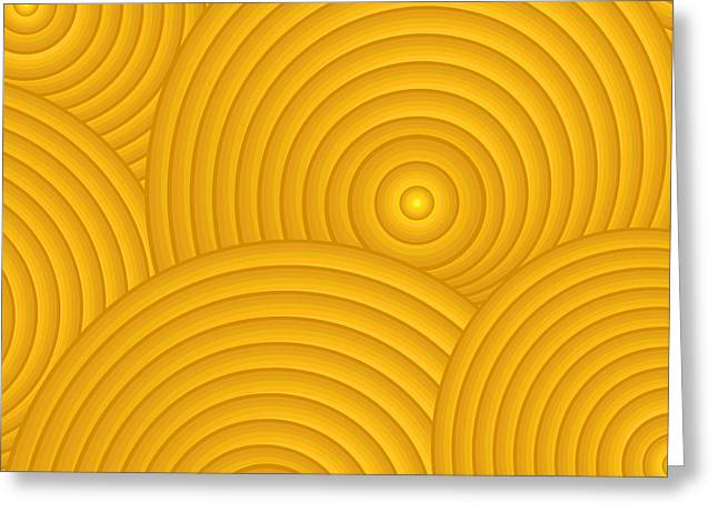 Glowing Greeting Cards - Yellow Abstract Greeting Card by Frank Tschakert