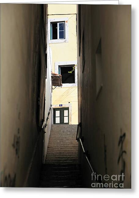 Alley Stairs Greeting Cards - Yellow Alley Greeting Card by John Rizzuto