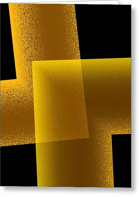 Transparency Geometric Greeting Cards - Yellow and Black Art  Greeting Card by Mario  Perez