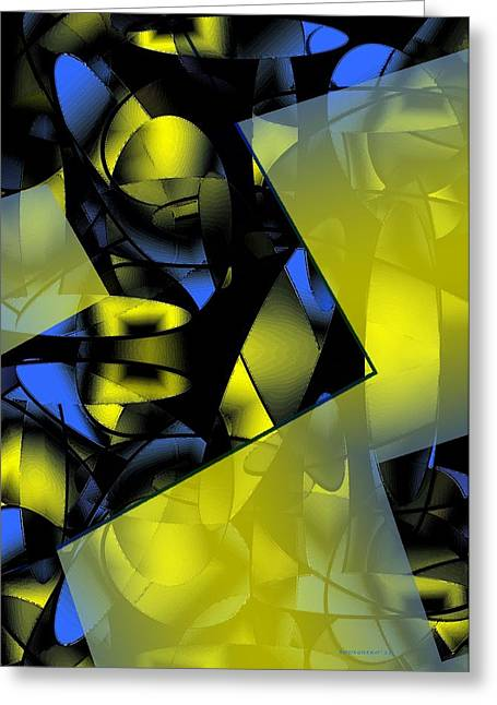 Transparency Geometric Greeting Cards - Yellow and Blue Abstract Design Greeting Card by Mario  Perez