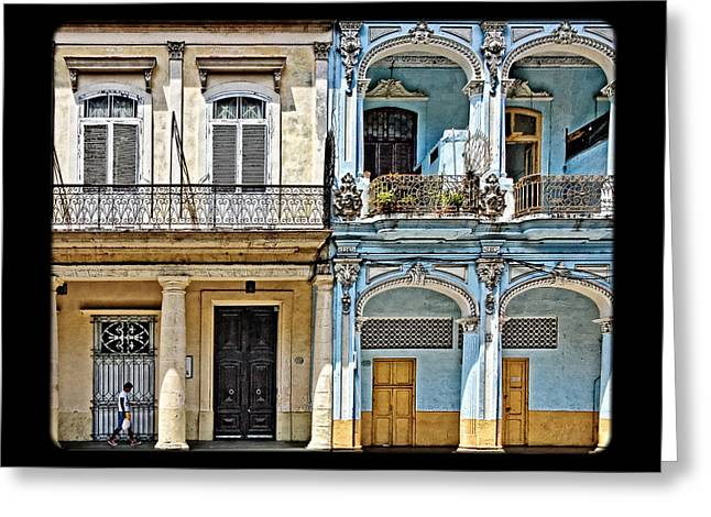 Cuban Greeting Cards - Yellow and Blue Greeting Card by Dawn Currie