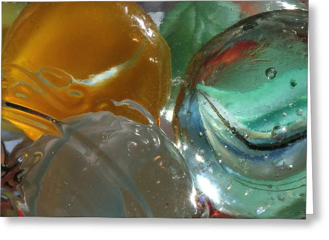 Cats Eye Marbles Greeting Cards - Yellow and Blue Marble Greeting Card by Mary Bedy