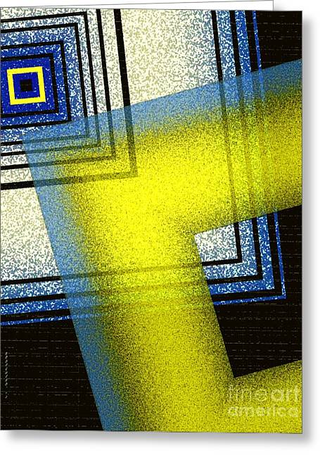 Transparency Geometric Greeting Cards - Yellow and blue Art with textures Greeting Card by Mario  Perez
