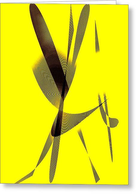 Geometric Art Greeting Cards - Yellow and Brown  Greeting Card by Mario  Perez