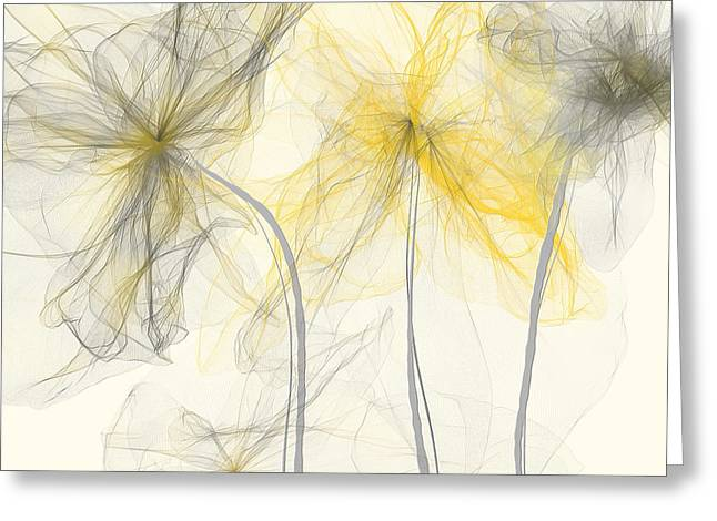 Yellow And Gray Abstract Greeting Cards - Yellow And Gray Flowers Impressionist Greeting Card by Lourry Legarde