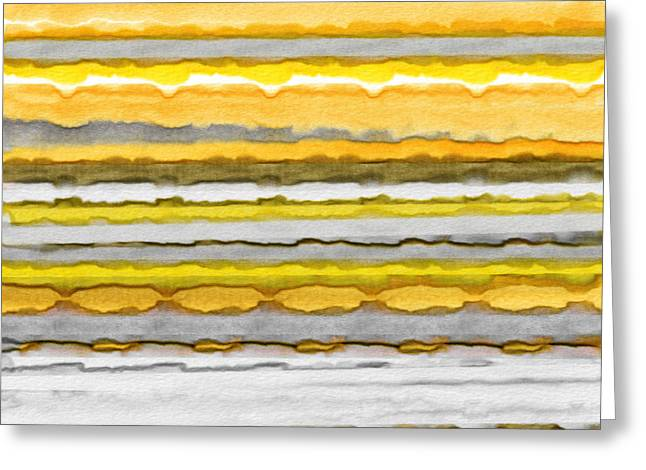 Yellow Line Greeting Cards - Yellow And Gray Stripes Art Greeting Card by Lourry Legarde