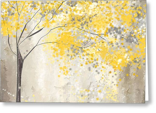 Happy Greeting Cards - Yellow And Gray Tree Greeting Card by Lourry Legarde