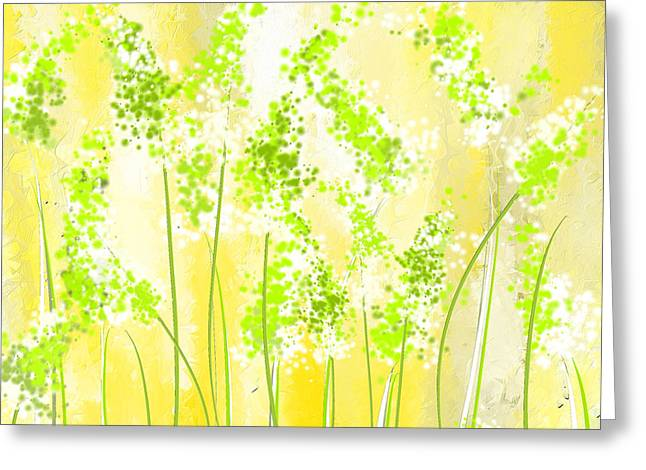 Green Abstract Greeting Cards - Yellow And Green Art Greeting Card by Lourry Legarde