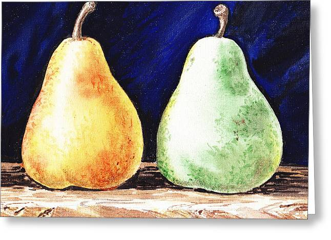 Green Pear Greeting Cards - Yellow And Green Pear Greeting Card by Irina Sztukowski