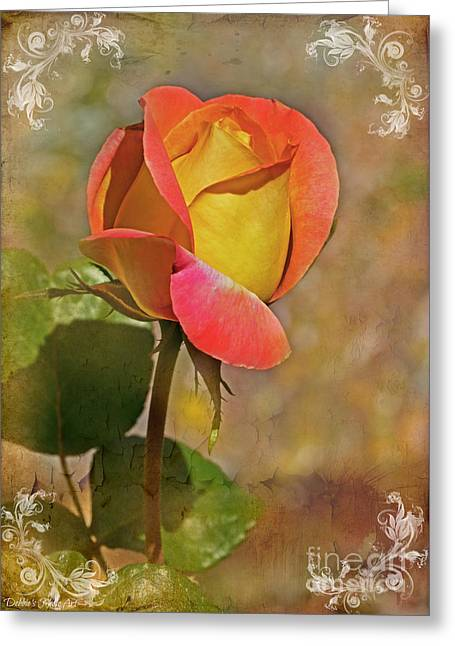 Peaches Corner Greeting Cards - Yellow and Peach Rosebud II Greeting Card by Debbie Portwood