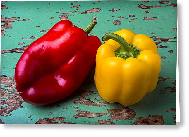 Yellow And Red Bell Pepper Greeting Card by Garry Gay