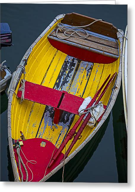 Dingy Greeting Cards - Yellow and red boat Greeting Card by Garry Gay