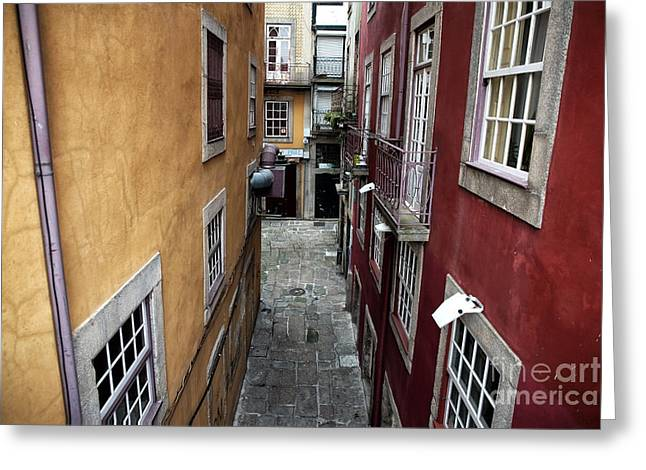 Red Buildings Greeting Cards - Yellow and Red in Porto Greeting Card by John Rizzuto