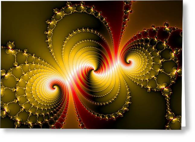 Helix Digital Art Greeting Cards - Yellow and red metal fractal art Greeting Card by Matthias Hauser