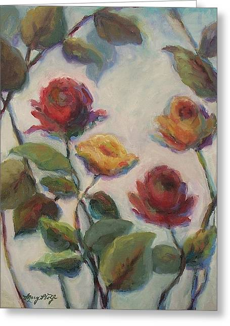 Yellow And Red Roses  Greeting Card by Mary Wolf