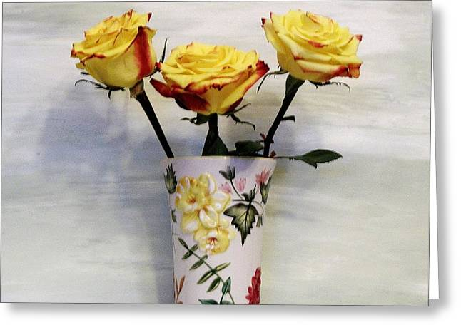 Photos With Red Digital Greeting Cards - Yellow and Red Tipped Roses Greeting Card by Marsha Heiken