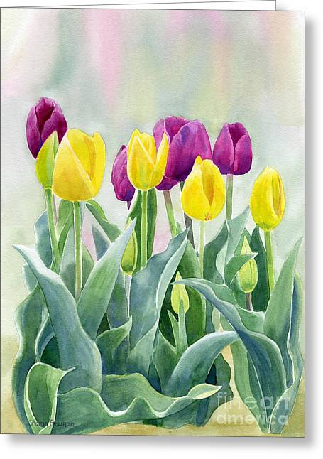Purple Tulips Greeting Cards - Yellow and Red Violet Tulips with Background Greeting Card by Sharon Freeman