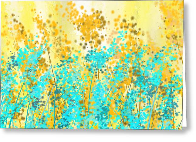 Blues And Yellows Greeting Cards - Yellow And Turquoise Garden Greeting Card by Lourry Legarde