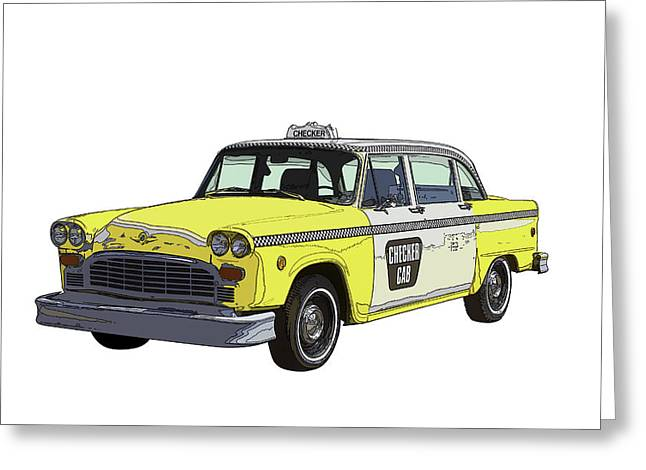 Checker Greeting Cards - Yellow and White Checker Cab Greeting Card by Keith Webber Jr